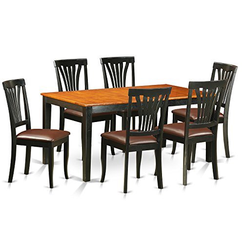 East West Furniture NIAV7-BCH-LC 7 Piece Dining Table and 6 Wood Chairs Set