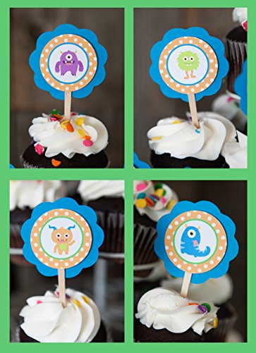 Custom Party Shop Monster CUPCAKE TOPPERS for Boy Birthday Parties or Baby Showers (12 pack)