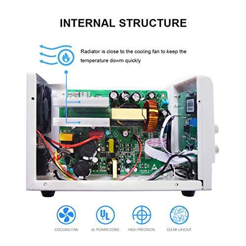 30V 5A DC Bench Power Supply Variable, 3-Digital LED Display, Switching Power Supply with Free Alligator Clip US Power Cord by NaviTech (Image #4)