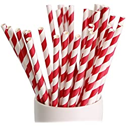 "Webake 144 Pack Biodegradable Paper Straws Stripes 7.75"" for Birthdays,Holiday,Weddings,Baby Showers, Celebrations,Parties (Red)"