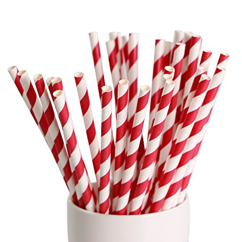 Webake 144 Pack Biodegradable Paper Straws Stripes 7.75