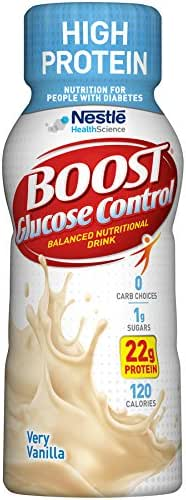Boost Glucose Control High Protein Nutritional Drink, Very Vanilla, 8 fl oz Bottle, 16 Pack (Packaging May Vary)