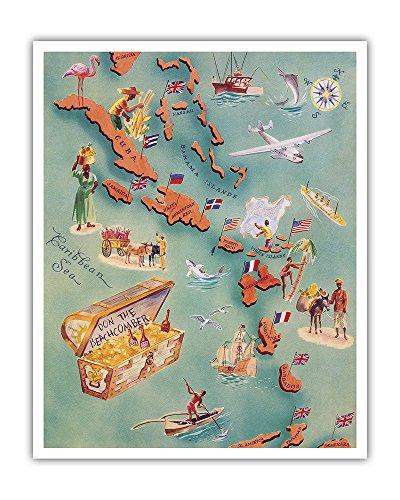 Map of Caribbean Islands - Bahama Islands - U.S. Virgin Islands - Menu Cover Rum Drink List - Don the Beachcomber Tiki Bar and Restaurant - Vintage Illustrated Map c.1940s - Hawaiian Fine Art Print - 16in x 20in