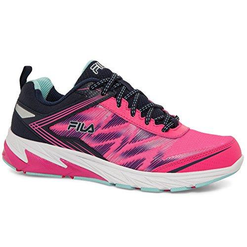 Fila Womens Lazerlite Energetisch Leer, Mesh, Memory Foam, Rubberen Sneakers Pink Glo, Fila Navy, Aruba Blue
