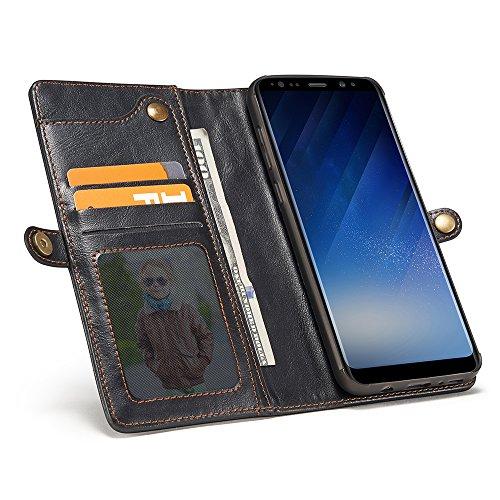 Grandcaser Funda para Samsung Galaxy S8,Rugged Armor Premium Cuero Protectora Book Style Cover Case Flip Wallet Billetera Carcasa con Desmontable Muñeca Correa - Rojo Negro