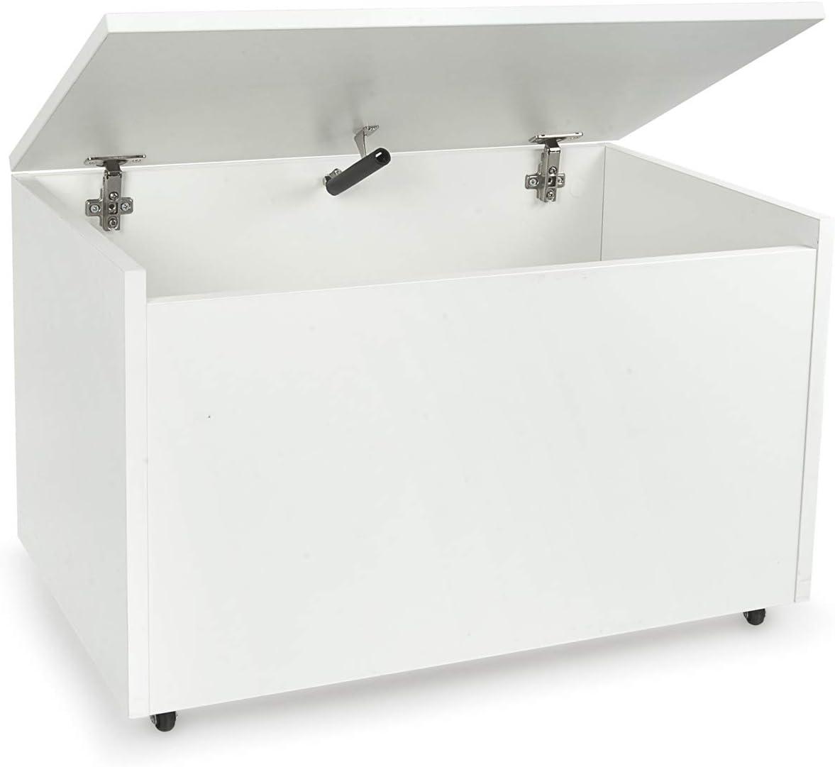 LEOMARK Caja de madera banco XXL con almacenamiento para juguetes, accesorios Baúl de juguetes sobre ruedas, blanco