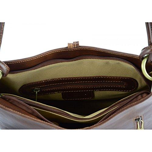 Schultertasche Aus Echtem Leder Farbe Braun - Italienische Lederwaren - Damentasche