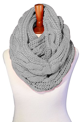 - Basico Women Winter Chunky Knitted Infinity Scarf Warm Circle Loop Various Colors (Cable Heather Gray)
