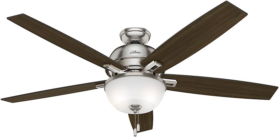 Hunter Indoor Ceiling Fan with LED Light and pull chain control – Donegan 60 inch, Brushed Nickel, 54172