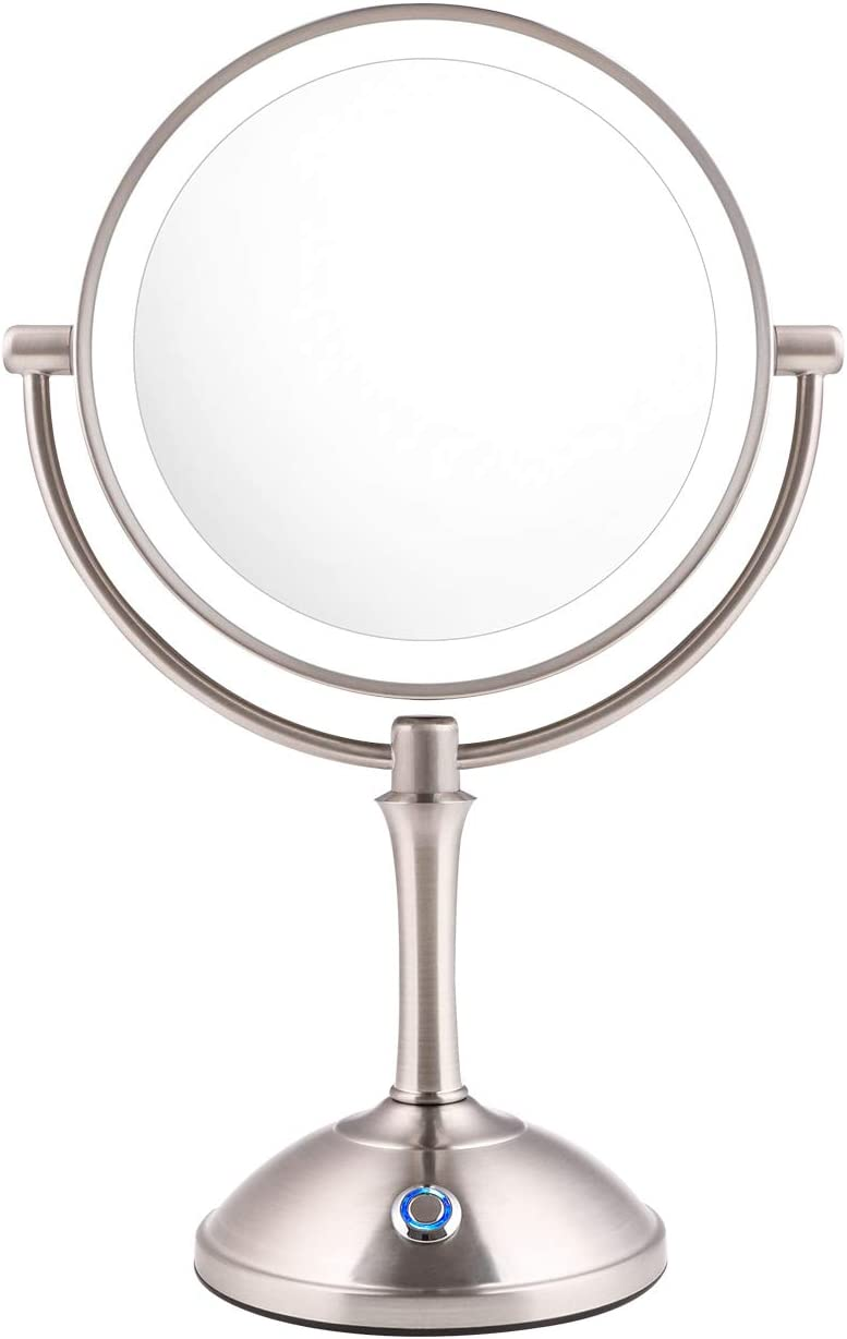"AmnoAmno LED Makeup Mirror-10x Magnifying,7.8"" Double Sided Lighted Vanity Makeup Mirror with Stand, Touch Button Adjustable Light-Cord or Cordless (sliver)"