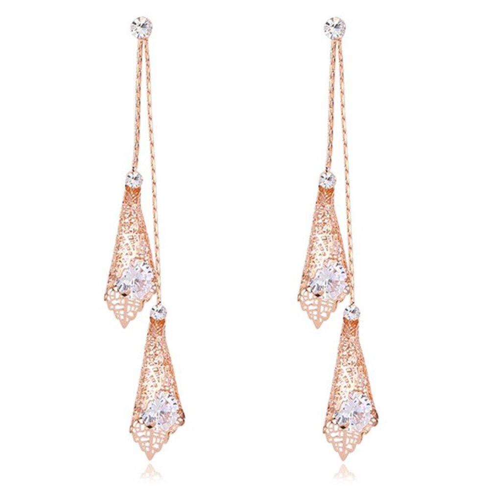Dangle Earring for Women Drop Earrings Fashion Long Earrings Rose Gold with CZ