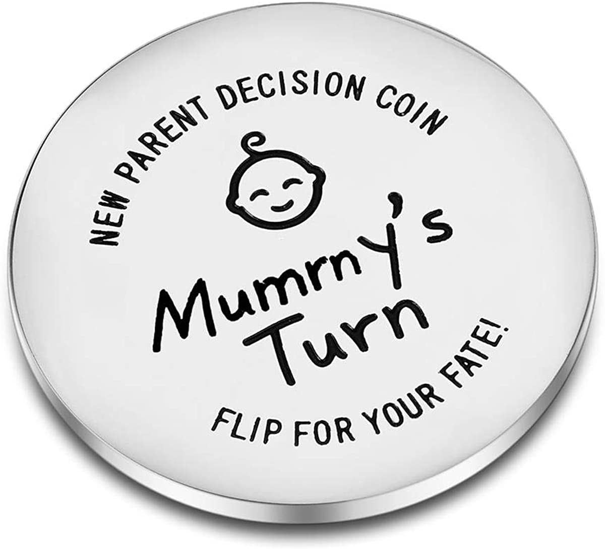 CJ/&M Fun New Parents Decision Coin New Baby Gift Engraved Wooden Fun Coin for Decision Making