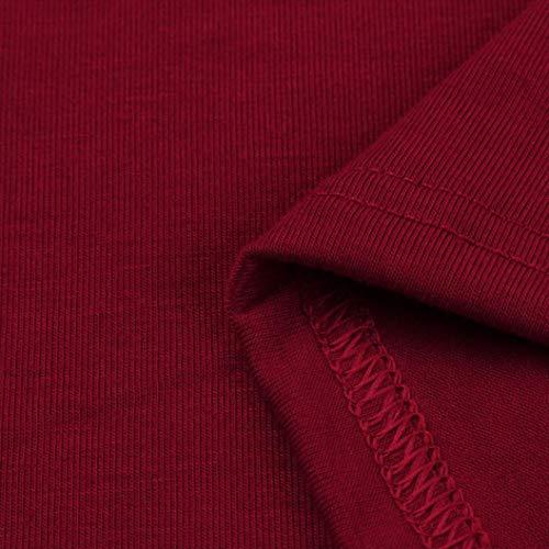 Sera Allentata Vino Sulla Lunga Partito Donna Maglietta Vestito Rosso Manica Casuale Da Moda Da Tasca Kimodo 0wg7X7