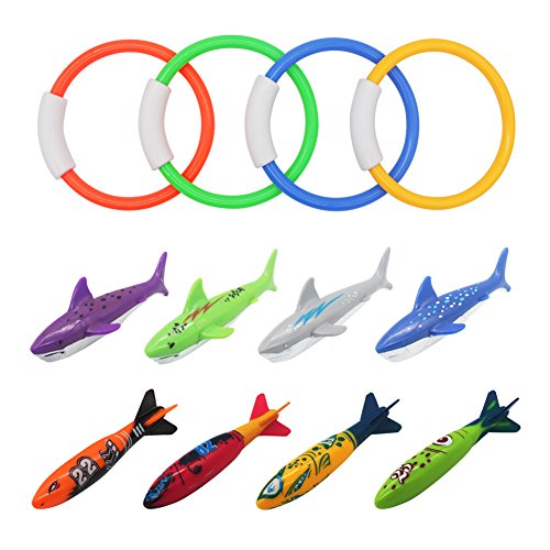 Fajiabao Diving Toys Kit Underwater Swimming Pool Rings Sharks Torpedo Bandit Rockets for Kids Toddlers Children Gliding Chasing Catching, Colorful Rubber, 12 - Ring Toy Rubber