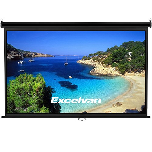 Excelvan 100 Inch 16:9 Manual Pull Down Projection Projector Screen Suitable For HDTV Sports Home Movies Wedding Party Presentations With Auto Locking Device
