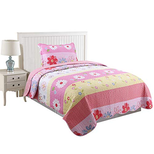 MarCielo 2 Piece Kids Bedspread Quilts Set Throw Blanket for Teens Girls Bed Printed Bedding Coverlet, Twin Size Pink Floral (Twin) ()