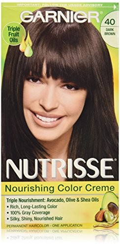 Garnier Nutrisse Nourishing Color Creme, 40 Dark Brown (Dark Chocolate) (Packaging May Vary)