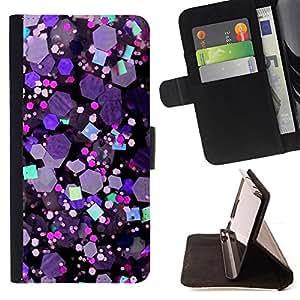 Kobe Diy Case / For HTC One M8 Glitter Crystal Purple Hexagon Shiny Dual Layer caso de Shell HUELGA Impacto pata de cabra con im???¡¯???€????€?????&
