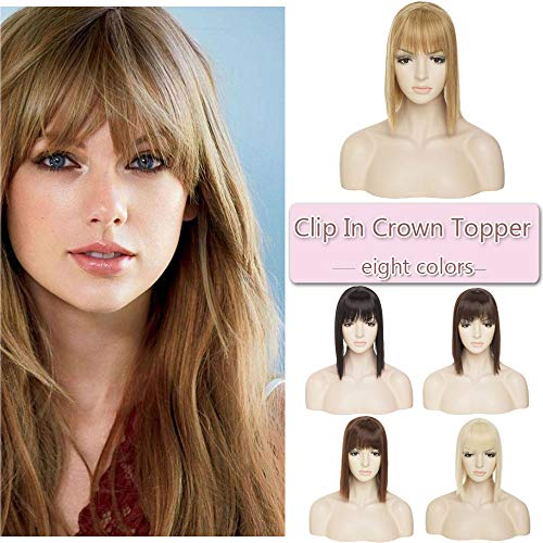 11 Inches Long Straight Clip In Crown Toppers For Women Synthetic Top Toupee Hairpiece With Wispy Thin Air Bangs Middle Part With Thinning Hair Loss Hair (Ash Brown mix Bleach Blonde)