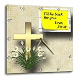 3dRose dpp_128832_3 Pretty Cross and Spring Flowers and Note from Jesus That He Will be Back a Great Gift Wall Clock, 15 by 15-Inch Review