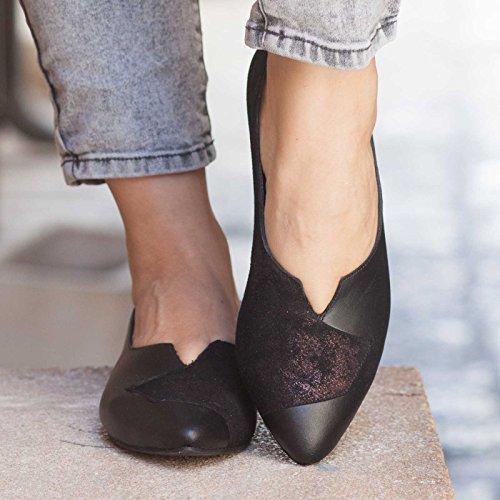 Black Women's Leather Flats by Bangi Shoes