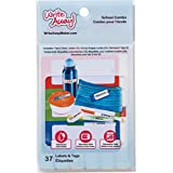 Mabel's Labels Write Away Combo Pack 37pc, 10 Peel & Stick Labels, 24 Mini Peel & Stick Labels and 3 Bag Tags, Dishwasher and Microwaver Safe, UV Resistant, Waterproof, Primary Colours (0018)