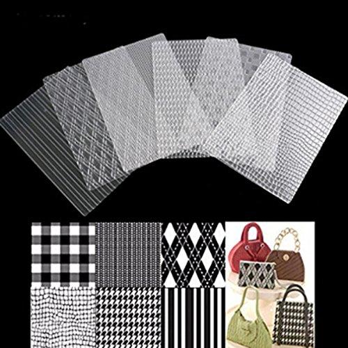 (UNKE Fondant Embossing Mould 6pcs Grid Bag Texture Mat Transparent Plastic Cake Mold Fondant Imprint Mat Set Decorating Tools)
