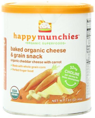 Счастливый Munchies Органические сыр и зерновые закуски, сыр чеддер с морковью, 1,63 унции (в упаковке 6)