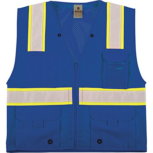 ML Kishigo Men's Enhanced Visibility Multi-Pocket Mesh Vest - Royal Blue, Small/Medium, Model# B102-S-M