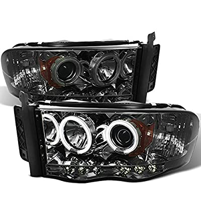 Dodge Ram Pickup Truck Smoked Smoke Dual CCFL Halo Ring LED Projector Replacement Headlights Pair