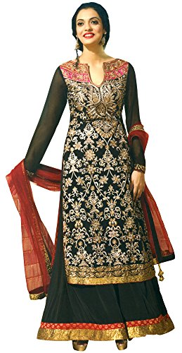 Sequined Salwar Kameez - Exotic India Jet-Black Designer Palazzo Salwar Suit WIT Size X-Small