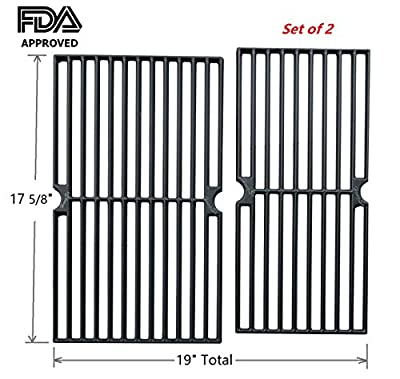 Hongso PCG222 Matte Cast Iron Cooking Grid Replacement for Brinkmann 810-3820-S, Dyna-Glo DGP350NP and Other Gas Grill Models, Set of 2 from Hongso