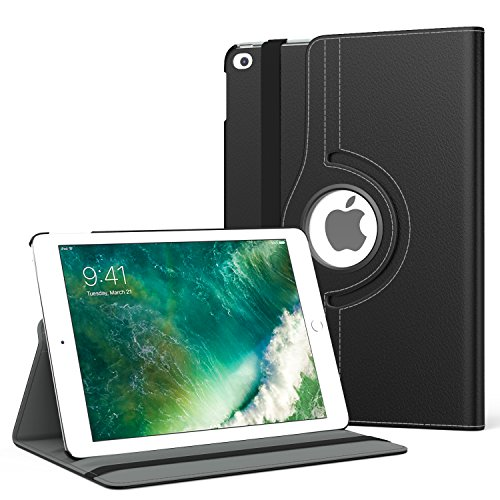 MoKo Case Fit 2018/2017 iPad 9.7 6th/5th Generation - 360 Degree Rotating Cover Case with Auto Wake/Sleep Compatible with Apple iPad 9.7 Inch 2018/2017, Black