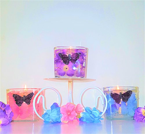 Reusable Gel Wax Candles with Hydrangeas & Butterfly Embeds in Variety of (Candle Embed)
