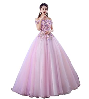 d2083a8509df Image Unavailable. Image not available for. Color: Darcy74Dulles Women's  Sweet 16 Quinceanera Dresses Pink Ball Gown Off The Shoulder Lace Long Prom  Dresses