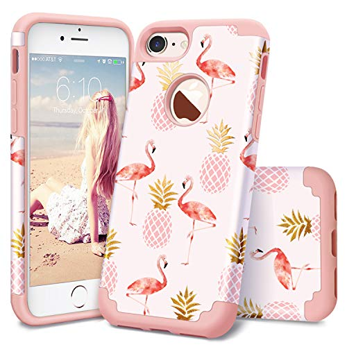 Casewind iPhone 8 Case,iPhone 7 Pink Case,Tropical Flamingo Floral Pineapple Design for Girls Printed Plastic Hard with Silicone Protective Case Cover for iPhone 7 (2016)/iPhone 8 (2017),Rose Gold