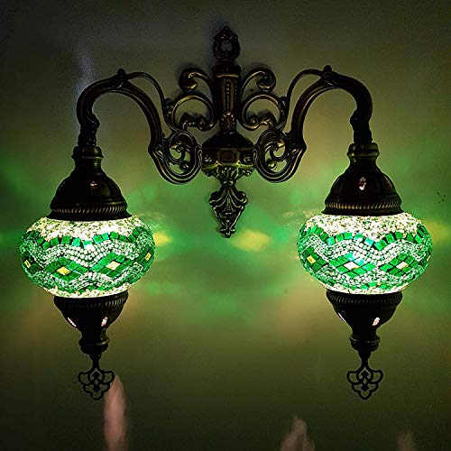 (Handmade Turkish/Moroccan/Tiffany/Bohemian Style Double Glass Mosaic Wall Lamp Light (GR))