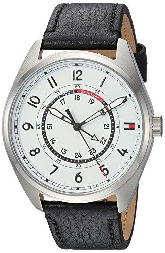 Tommy Hilfiger Men's Casual Sport Quartz Watch with Leather Calfskin Strap, Black, 21 (Model: 1791373)