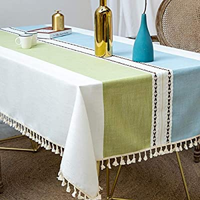 Deep Dream Tablecloths, Stitching Tassel Table Cloth Cotton Linen Wrinkle Free Anti-Fading Table Cover Decoration for… - 【NON-FADING】: Deep Dream cotton linen tablecloth is dyed with high-quality dyes, which has good dye fixation and is not easy to fade 【ANTI-WRINKLE & ANTI-SHRINK】: This table cloth is made of high quality eco-friendly heavy cotton linen, making it soft and smooth, with exquisite tassels to make your table more beautiful 【EASY TO CARE】: Our table clothes can be hand-washed or gently machine-washed, hand wash best. Tumble dry on low heat or lay flat to dry, very easy to clean, soft and comfortable, no pilling - tablecloths, kitchen-dining-room-table-linens, kitchen-dining-room - 51YLJsTp3NL. SS400  -