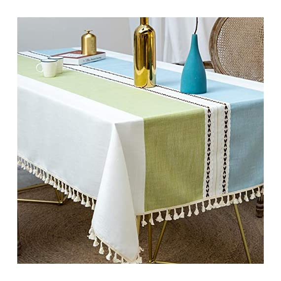 Deep Dream Tablecloths, Stitching Tassel Table Cloth Cotton Linen Wrinkle Free Anti-Fading Table Cover Decoration for Kitchen Dinning Party, 55 x 55 Inch - Blue & Green - 【NON-FADING】: Deep Dream cotton linen tablecloth is dyed with high-quality dyes, which has good dye fixation and is not easy to fade 【ANTI-WRINKLE & ANTI-SHRINK】: This table cloth is made of high quality eco-friendly heavy cotton linen, making it soft and smooth, with exquisite tassels to make your table more beautiful 【EASY TO CARE】: Our table clothes can be hand-washed or gently machine-washed, hand wash best. Tumble dry on low heat or lay flat to dry, very easy to clean, soft and comfortable, no pilling - tablecloths, kitchen-dining-room-table-linens, kitchen-dining-room - 51YLJsTp3NL. SS570  -