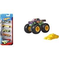 Hot wheels 5 car Gift Pack (Color & Design May Vary) & Hot Wheels Monster Trucks 1:64 (Assorted)