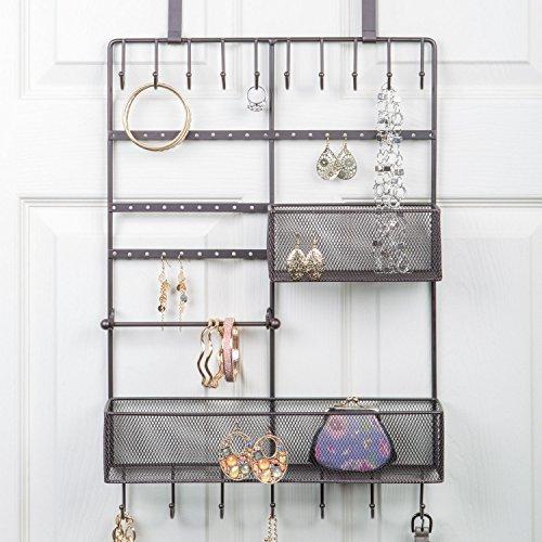 Large Decorative Hanging Over the door Jewelry, Belt Organizer, 17 Hooks, 2 Baskets, Bronze