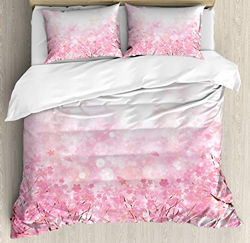 Ambesonne Pale Pink Duvet Cover Set Queen Size, Japanese Cherry Blossom Sakura Tree with Romantic Influence Nature Theme, Decorative 3 Piece Bedding Set with 2 Pillow Shams, Baby Pink