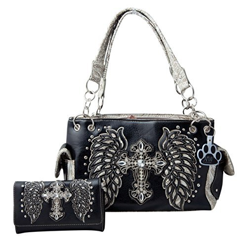 HW Collection Western Handbag Cross Laser Cut Angel Wings Concealed Carry Shoulder Purse Wallet Set (Black/Pewter)