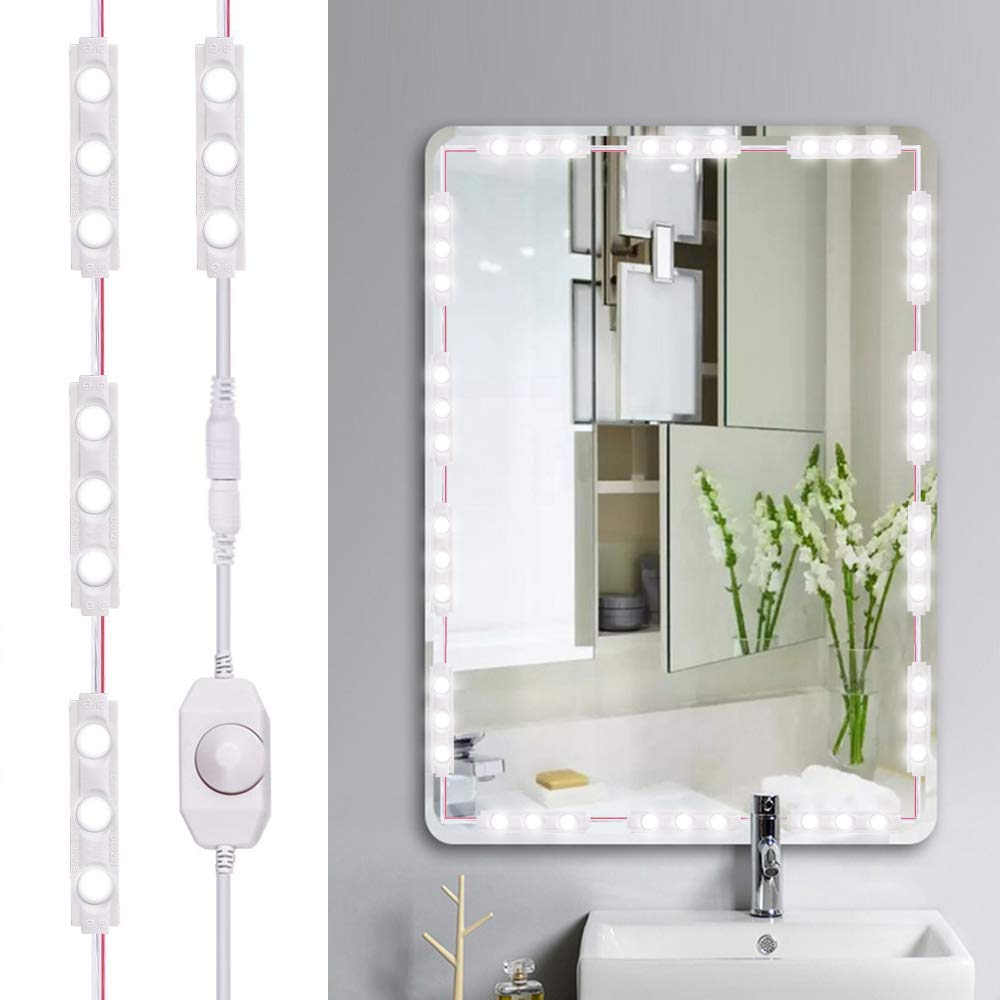Bathroom 6000K Daylight White with Dimmer for Dressing Table Decorative Walls Led Vanity Mirror Lights Kit Viugreum 60 LEDs 10FT 1200LM Dimmable Makeup Mirror Lights
