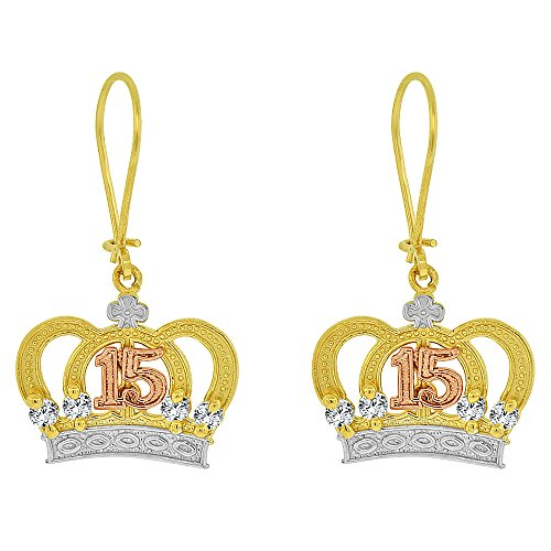 14k Tricolor Gold, 15 Anos Quinceanera Crown Tiara Dangling Drop Fancy Earring Created CZ Crystals ()