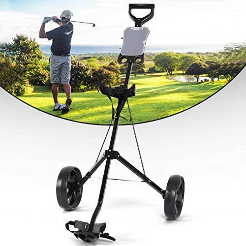 Tangkula Golf Cart Foldable 2 Wheel Push Pull Cart Trolley