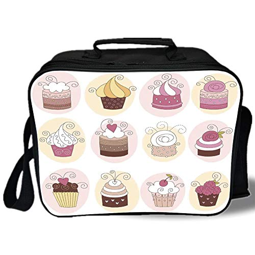 Insulated Lunch Bag,Modern,Cupcakes Bakery Pastry Design Confectioners Decorations Cake Retro Style Decor Decorative,Pastel Pink Cream,for Work/School/Picnic, Grey ()