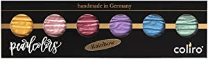 Coliro Artist Mica Pearl Watercolor Paint, M710 Rainbow (6 Color Set) by Finetec GmbH
