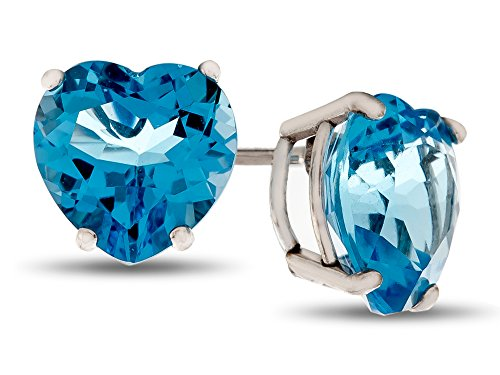 6mm Heart Blue Topaz Earring - Finejewelers 6x6mm Heart Shaped Swiss Blue Topaz Post-With-Friction-Back Stud Earrings Sterling Silver